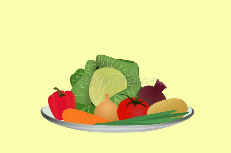 Vegetables on a plate, ingredients for making soup, vector illustration royalty free stock photography