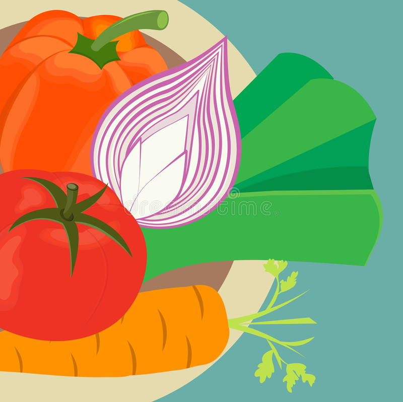 Vegetables on the plate. Pepper, tomato, onion, leek on the plate. Green plate vector illustration