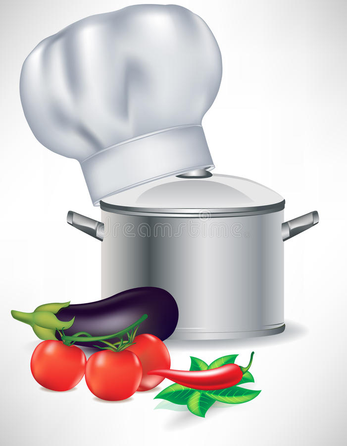 Vegetables and pot with cooking chef hat stock illustration
