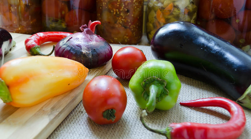 Vegetables for preservation. For preserving vegetables on a wooden table in Russia stock photos