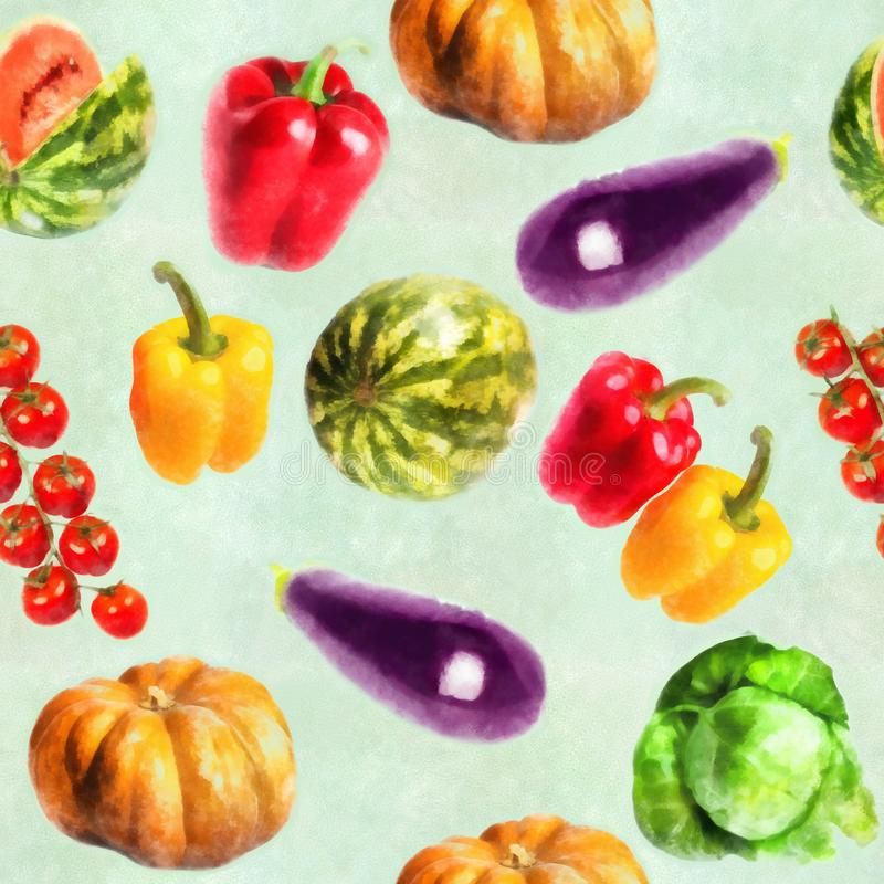 Vegetables - pumpkin, sweet pepper, cabbage, watermelon, eggplant, branch of tomatos - watercolor seamless pattern vector illustration
