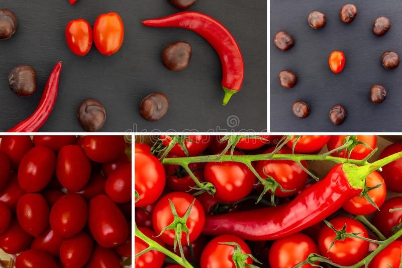 Vegetables red tomatoes on a black background hot pepper chestnut. Vegetable chestnut center cherry tomato pepper chili red stock image
