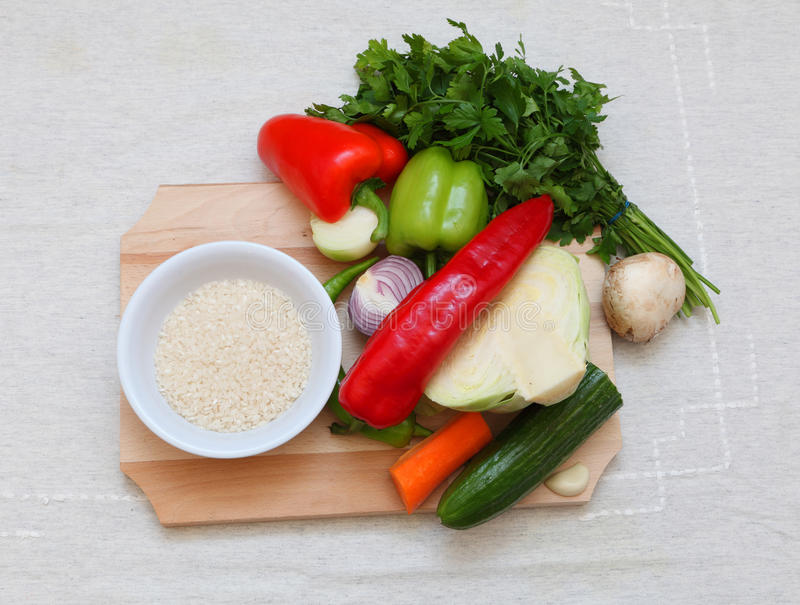 Vegetables and rice royalty free stock photos