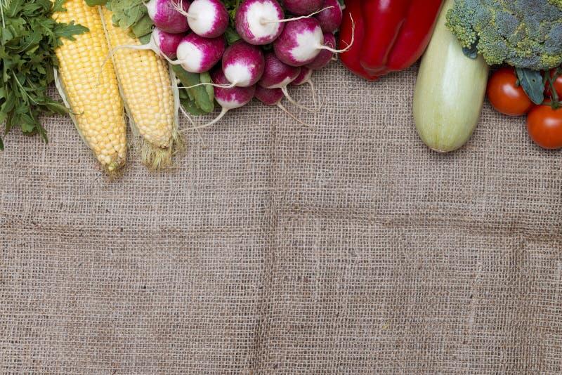 Vegetables on sackcloth stock image