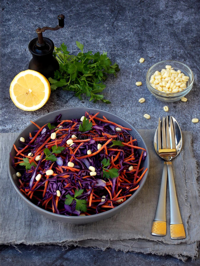 Vegetables salad with purple cabbage, carrot, sprouted mung, parsley on grey clay plate on dark background. Cole Slaw Salad of red stock photo