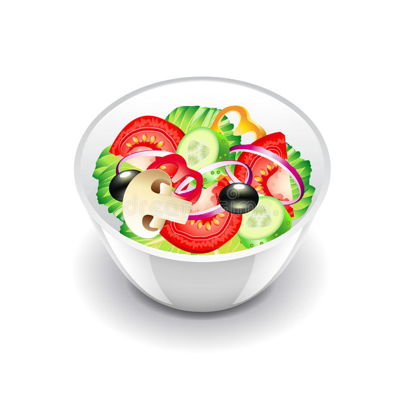 Vegetables salad on white vector. Vegetables salad on white photo-realistic vector illustration stock illustration