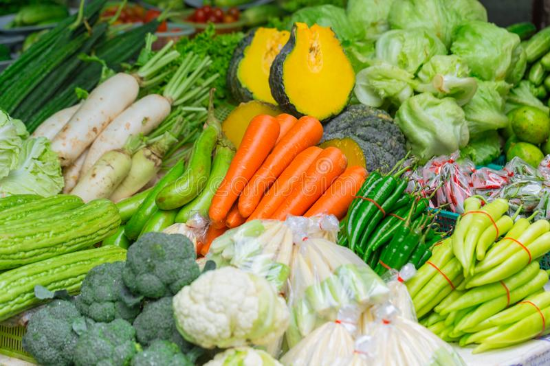 Vegetables sale in the market in Thailand stock photography