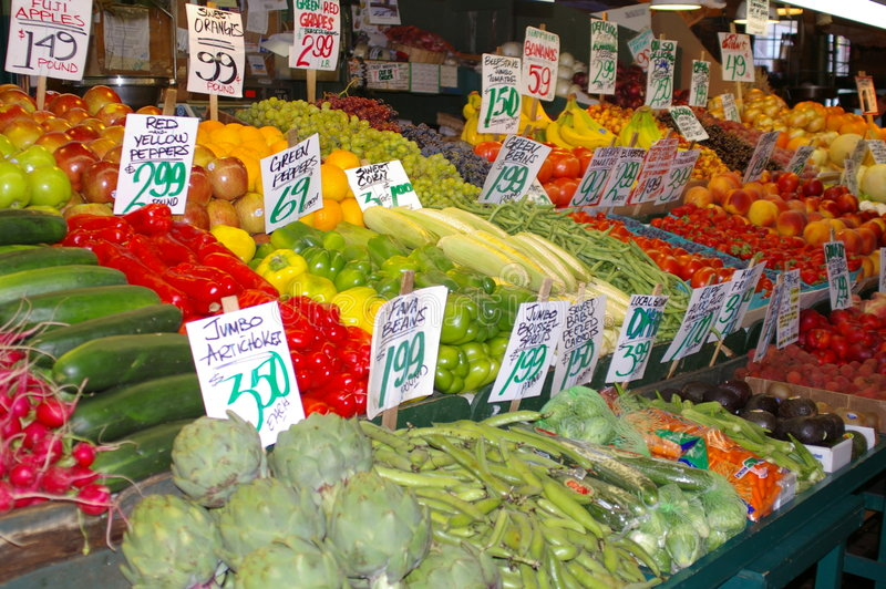 Vegetables for Sale at Pike's Market stock photo