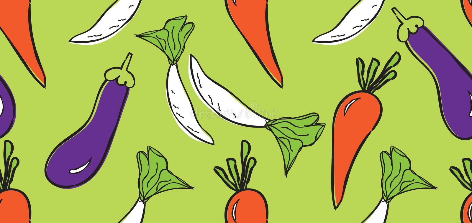 Vegetables seamless pattern, Vegetables banner template vector, web banner, web page, chili peppers, radish, Carrots, eggplants stock photo