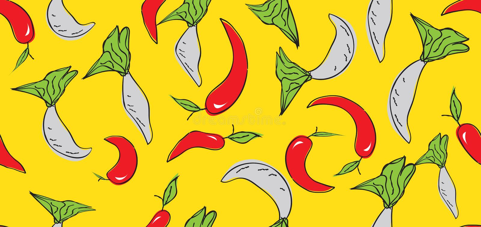 Vegetables seamless pattern, Vegetables banner template vector, web banner, web page, chili peppers, radish, cover, Healthy food stock images