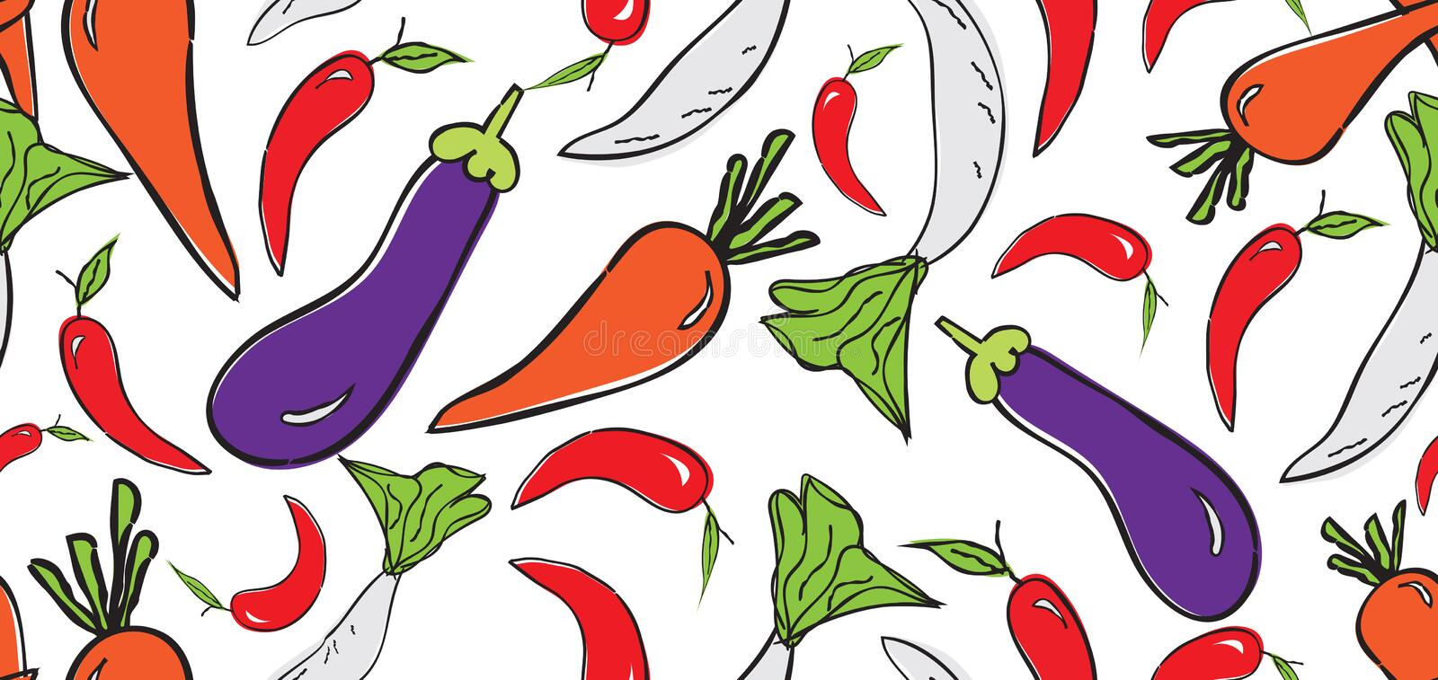 Vegetables seamless pattern, Vegetables banner template vector, web banner, web page, Eggplant, chili pepper, radish, eggplant. Carrots, cover, Healthy food stock illustration