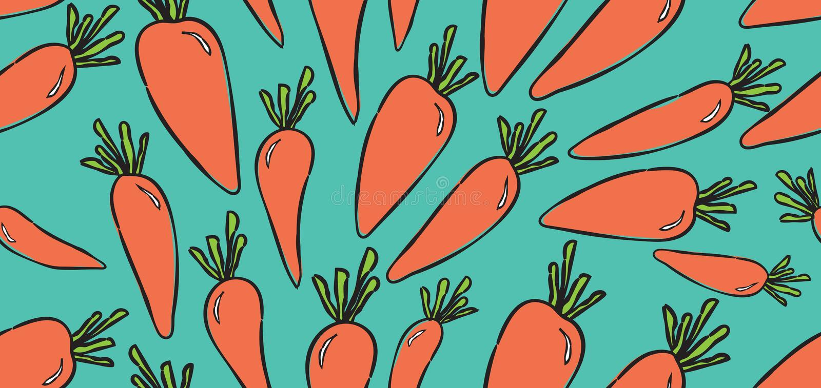 Vegetables seamless pattern, Vegetables banner template vector, web banner, web page, Carrots royalty free stock image