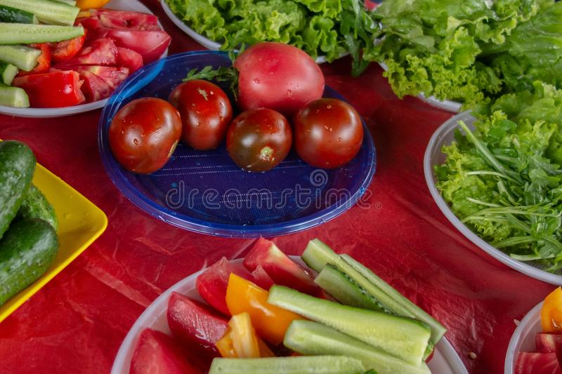 Vegetables served at picnic party outdoor. Close up of tomatoes, cucumbers, pepper, salad and other edible greens. Whole, cropped. And sliced raw vegetable on stock photography