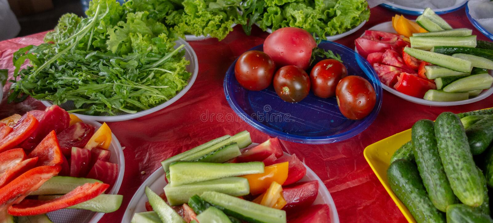 Vegetables served at picnic party outdoor. Panorama of tomatoes, cucumbers, pepper, salad and other edible greens. Whole, cropped. And sliced raw vegetable on royalty free stock image