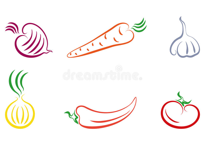 Vegetables. A set of 6 vegetables: beet pepper garlic onions carrots tomato. Additional format EPS 8 royalty free illustration