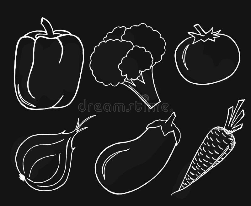 Vegetables set on black background. stock photo