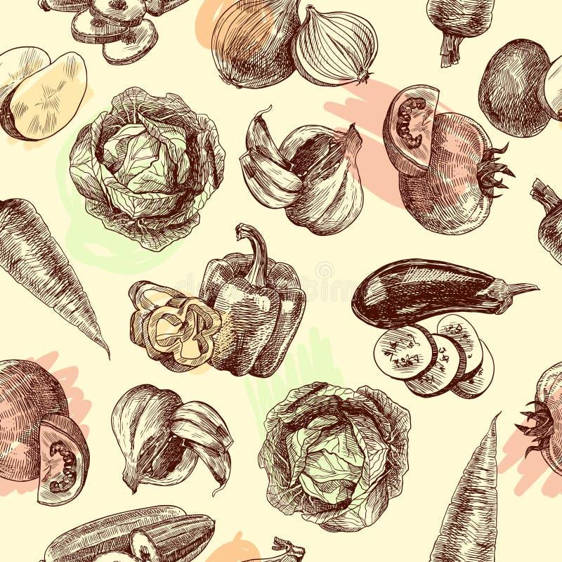 Vegetables sketch seamless pattern. Vegetables natural organic fresh food black and white sketch seamless pattern vector illustration royalty free illustration