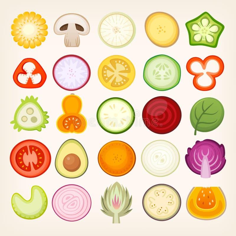 Vegetables sliced in half. stock illustration