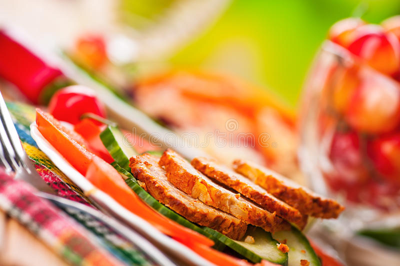 Vegetables, Slices Of Meatloaf, Royalty Free Stock Photography