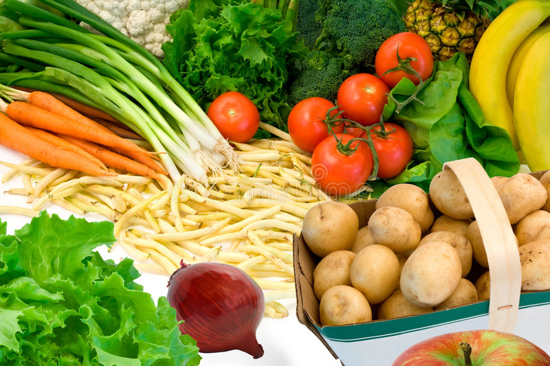Vegetables and Some Fruits royalty free stock photo
