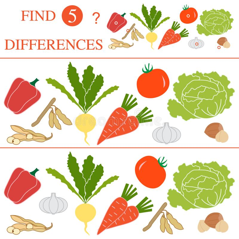 Find 5 differences.Educational games for children. Vegetables: soya beans, tomato, turnip, garlic, carrots, hazelnut, cabbage, pepper. Find 5 differences royalty free illustration