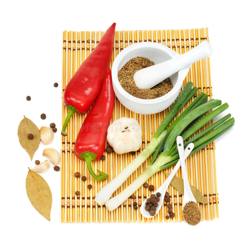 Vegetables and spices. On white background royalty free stock photo