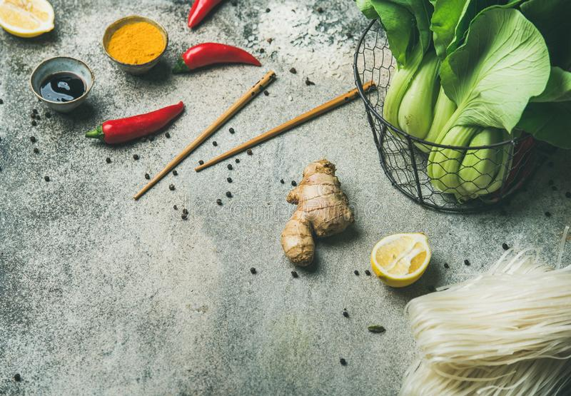 Vegetables, spices, noodles, sauces for cooking vietnamese, thai, chinese food royalty free stock images