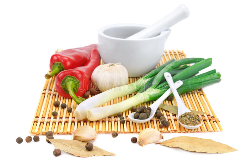 Vegetables and spices. On white background royalty free stock photography