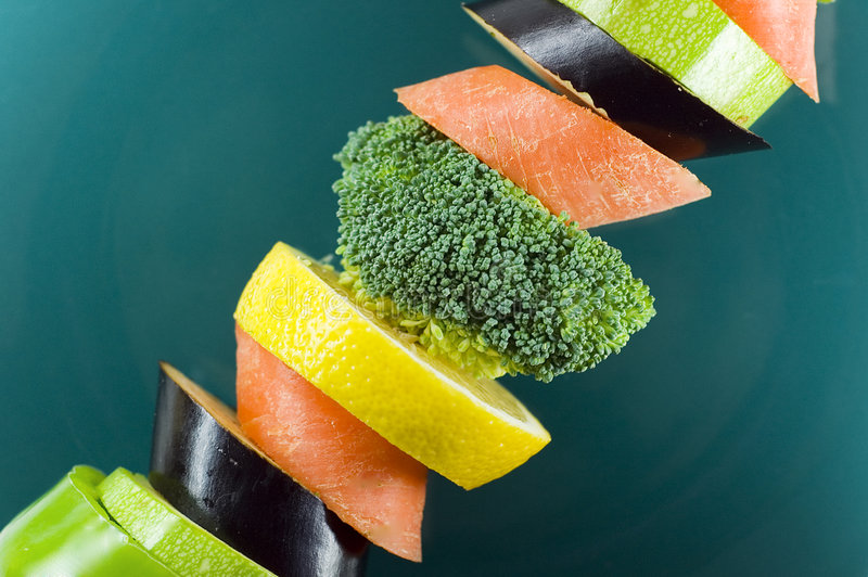 Vegetables On A Spit Royalty Free Stock Photo
