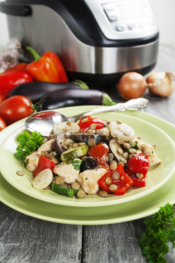 Vegetables, steamed with chicken and green lentils royalty free stock photography