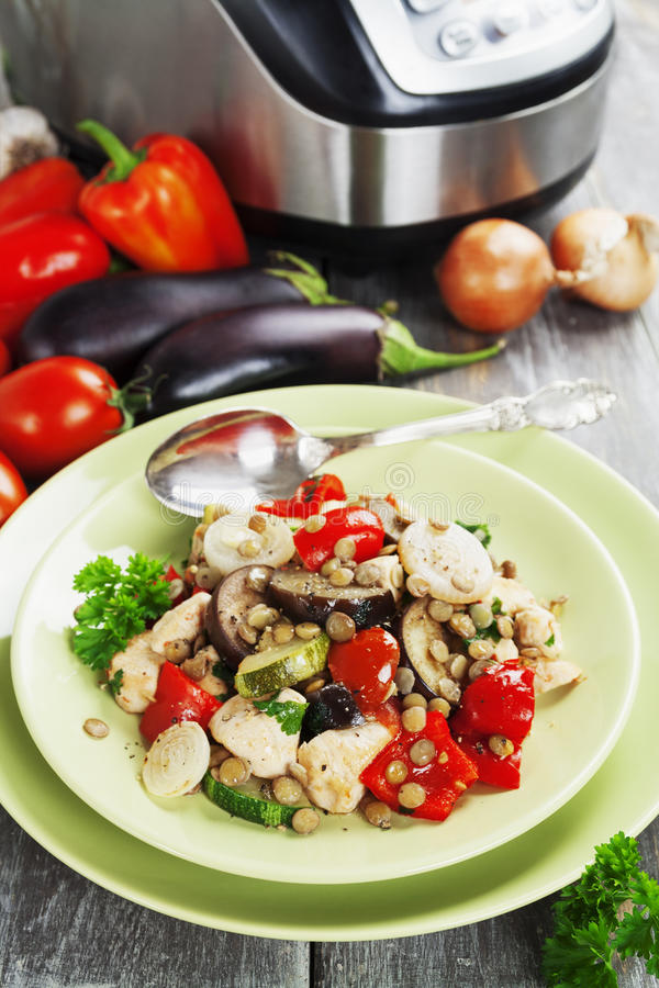Vegetables, steamed with chicken and green lentils stock images