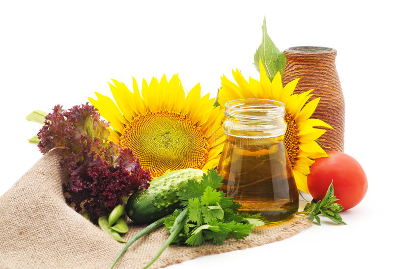 Vegetables and sunflowers on sacking. royalty free stock photography