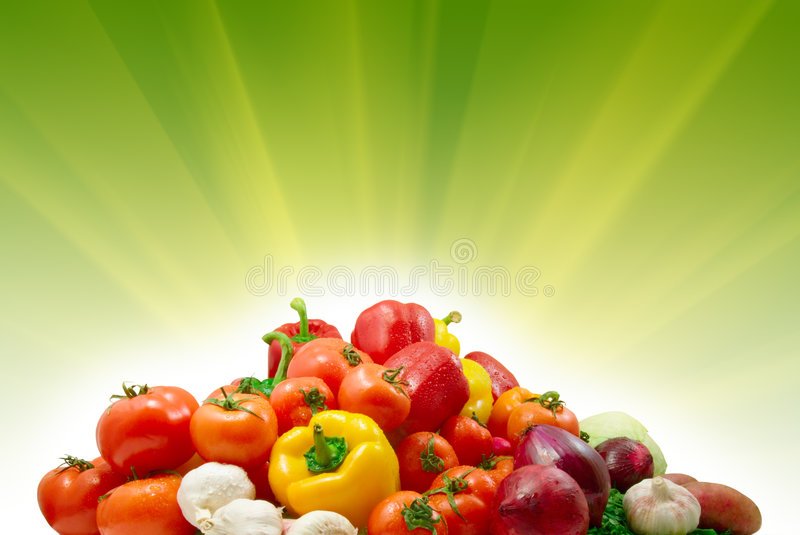 Vegetables And Sunny Background Stock Photos
