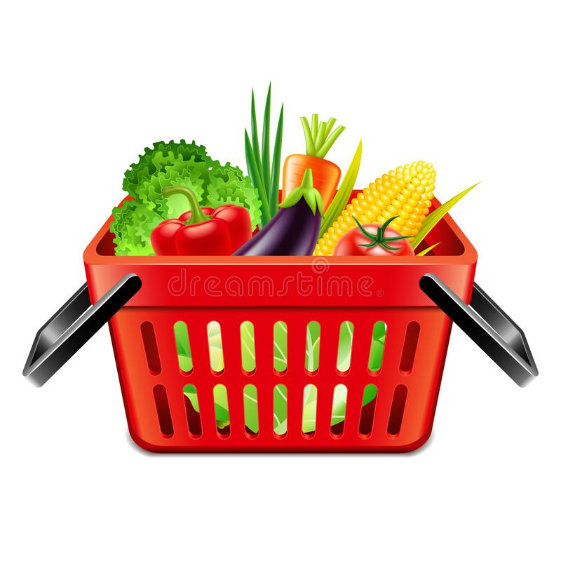 Vegetables in supermarket basket isolated vector. Vegetables in supermarket basket isolated photo-realistic vector illustration royalty free illustration