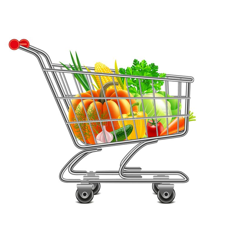 Vegetables in supermarket cart isolated vector. Vegetables in supermarket cart isolated photo-realistic vector illustration royalty free illustration