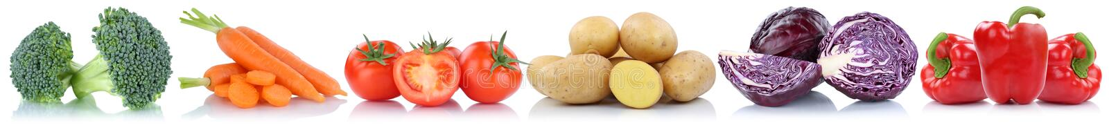 Vegetables tomatoes carrots potatoes bell pepper in a row isolated stock photo