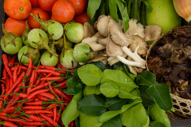 Vegetables, tomatoes, eggplant, peppers, mushrooms, kaffir. In everyday usage, a vegetable is any part of a plant that is consumed by humans as food as part of a royalty free stock photos