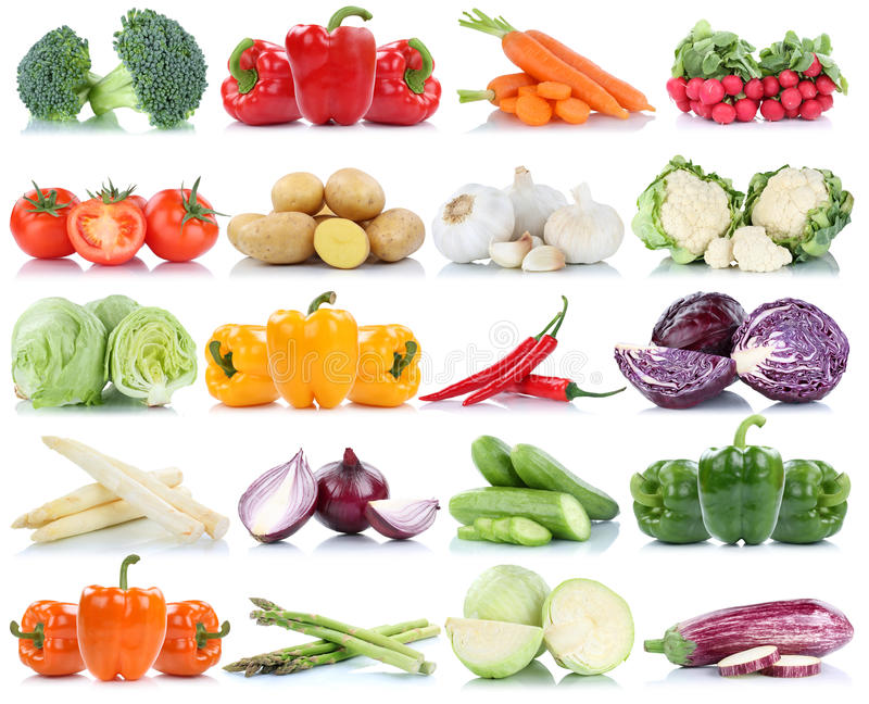Vegetables tomatoes lettuce bell pepper carrots potatoes asparagus collection isolated royalty free stock photo