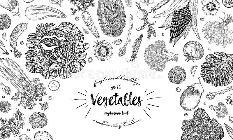 Vegetables top view frame. Ink hand drawn vector illustration. Farmers market menu design template. Organic vegetables royalty free illustration