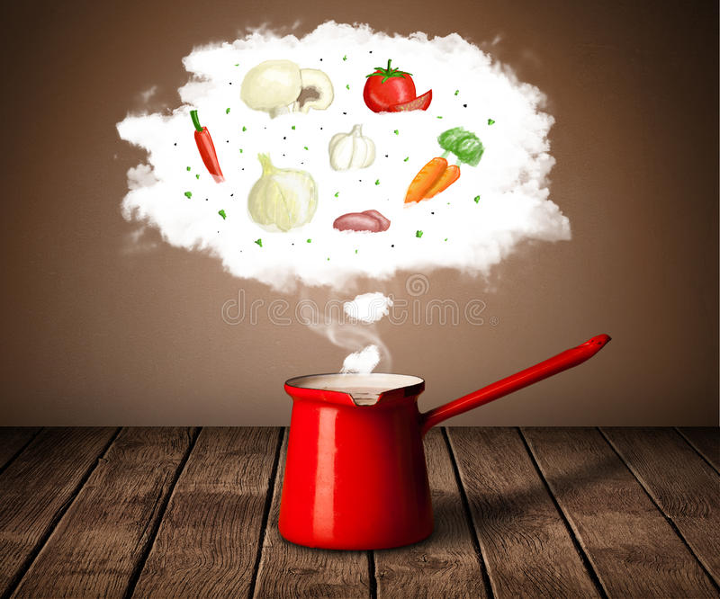 Vegetables in vapor cloud. Vegetables in vapor steam above cooking pot royalty free stock photography