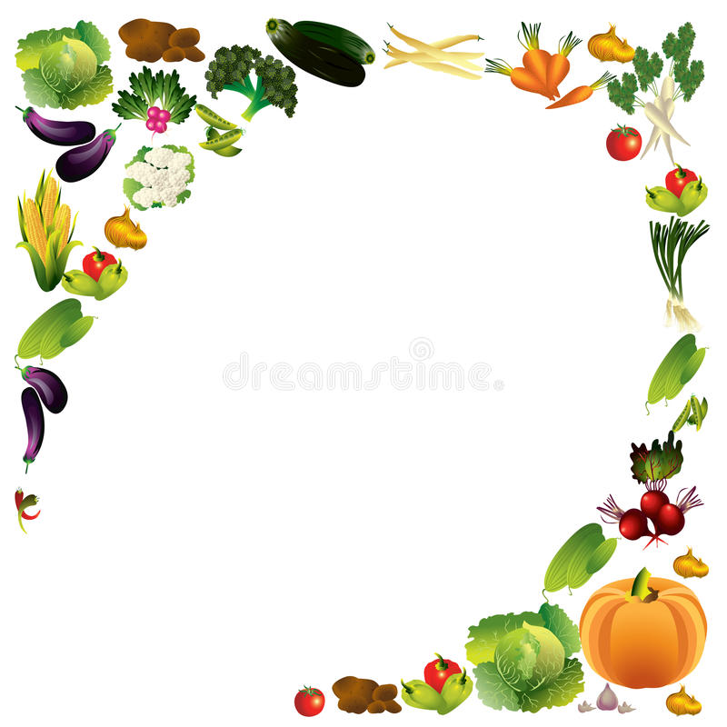 Vegetables vector background with place for text, healthy food t royalty free illustration