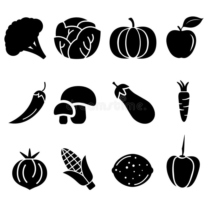 Vegetables vector icons set. Fruits illustration symbol collection. vector illustration