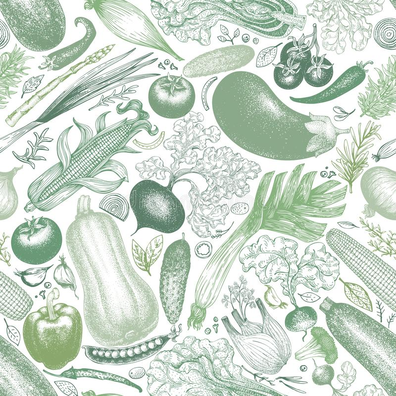 Vegetables vector seamless pattern. Retro engraved style background. Hand drawn illustration. Can be use for menu. Vegetables vector seamless pattern. Vintage vector illustration