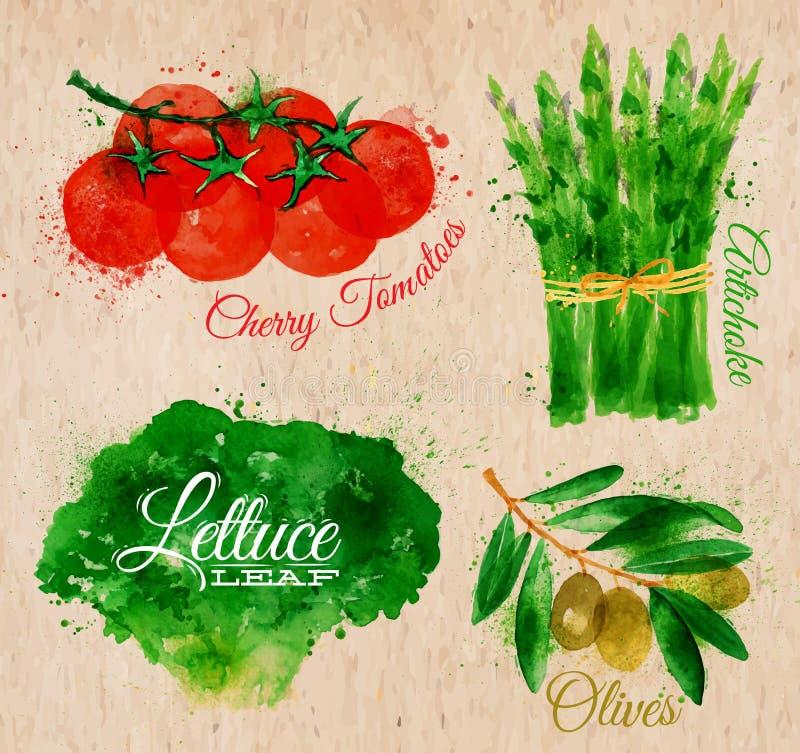 Vegetables watercolor lettuce, cherry tomatoes, vector illustration