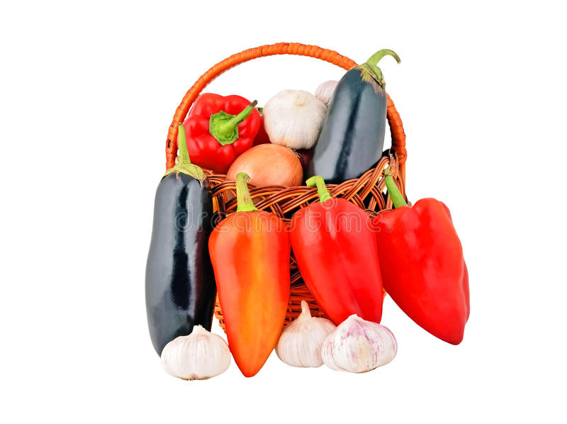 Vegetables in a wattled basket stock photo