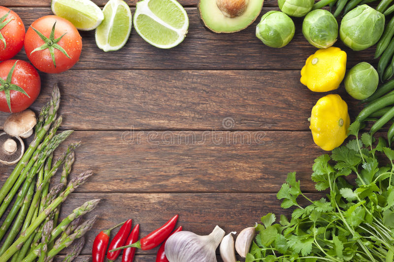 Vegetables Wood Food Frame Background stock photography