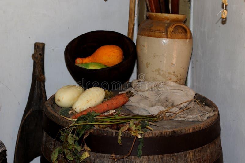 Vegetables on Wooden barrel royalty free stock image