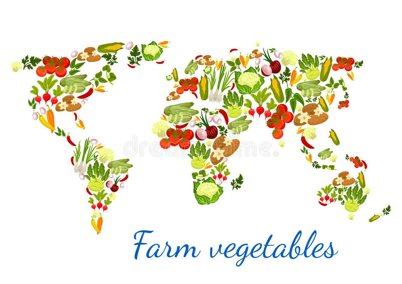 Vegetables world map vegetarian vector veggies. Vegetables and greens in shape of world map. Vector veggies zucchini squash and asparagus, beet and cabbage royalty free illustration