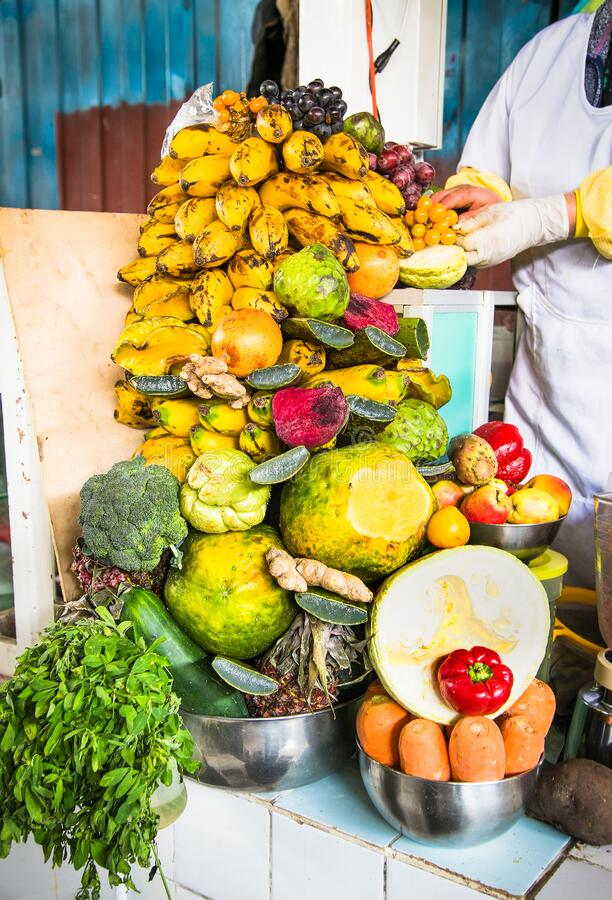 Vegetabls and fruits at the stall at  market in Cusco, Peru royalty free stock images