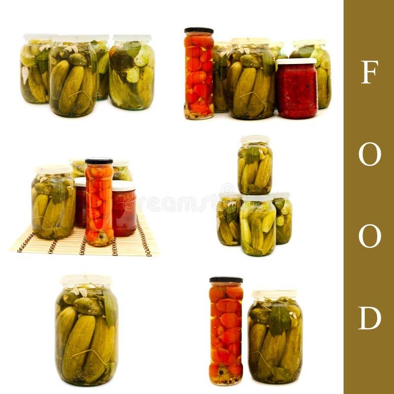Vegetais conservados no frasco de vidro fotos de stock royalty free